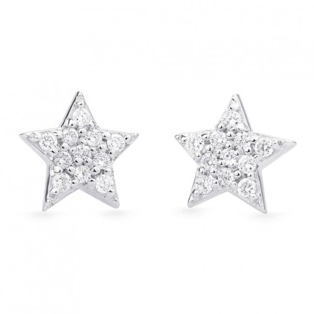 d89f2df26924 Pendientes Estrellas en Oro blanco con brillantes - Girbes Joyas