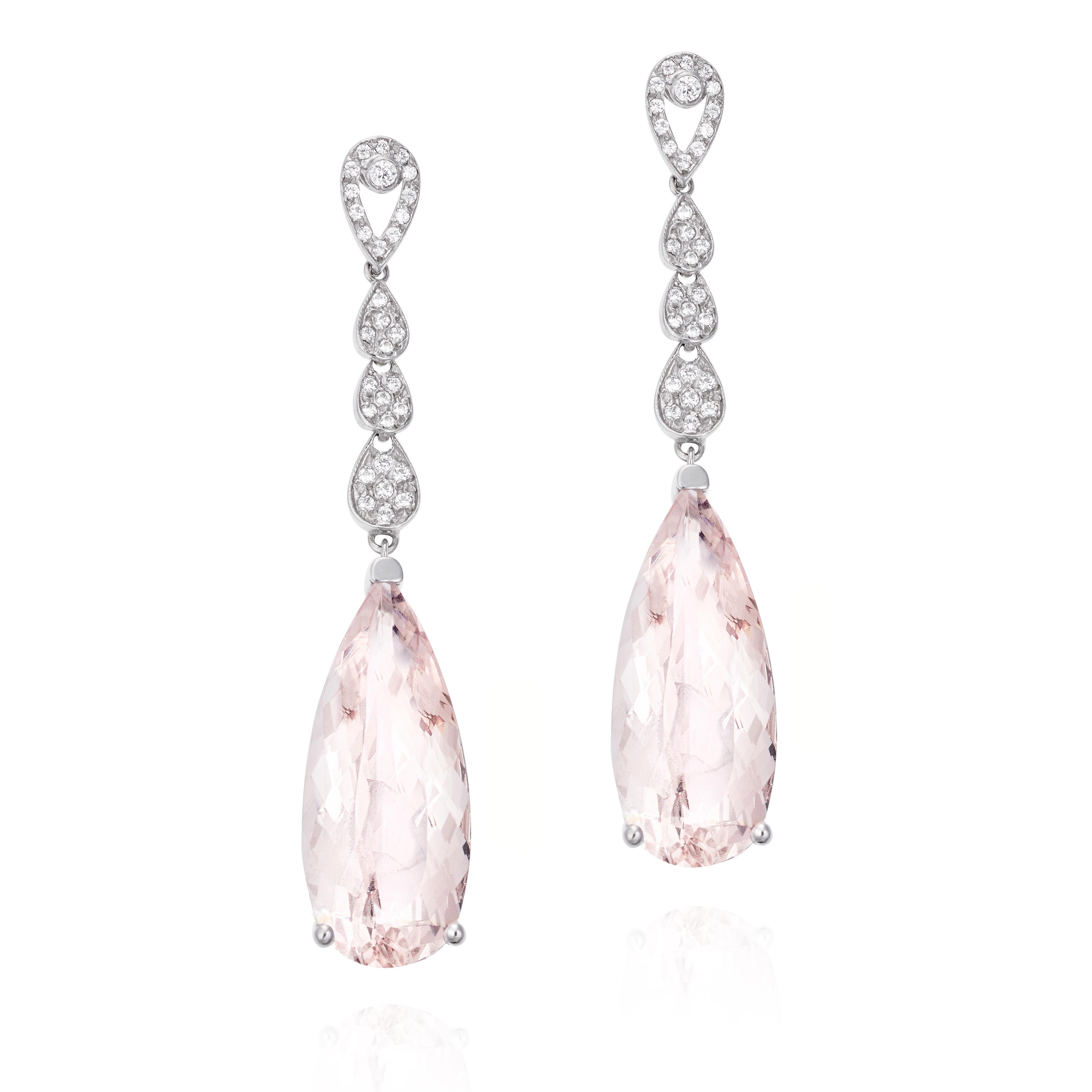 3fa6ecf01001  Pendientes de Oro blanco con piedra rosa ...