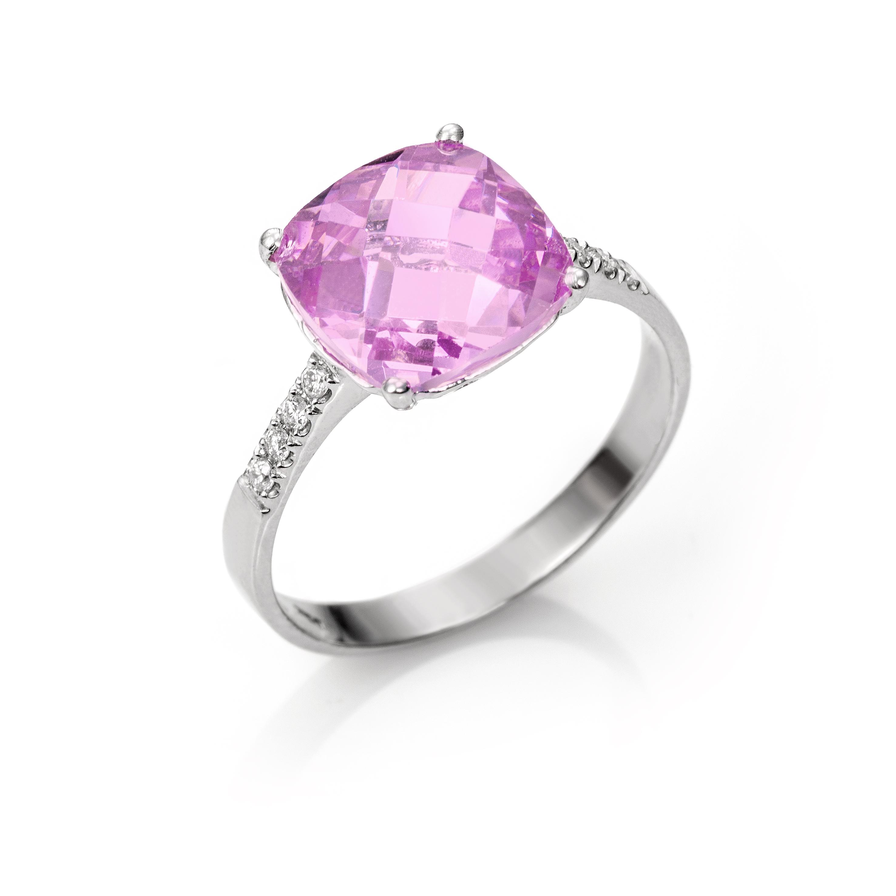 6e170a79393f Anillo Oro Blanco 18kts con Diamantes y Rosa de Francia - Girbes Joyas