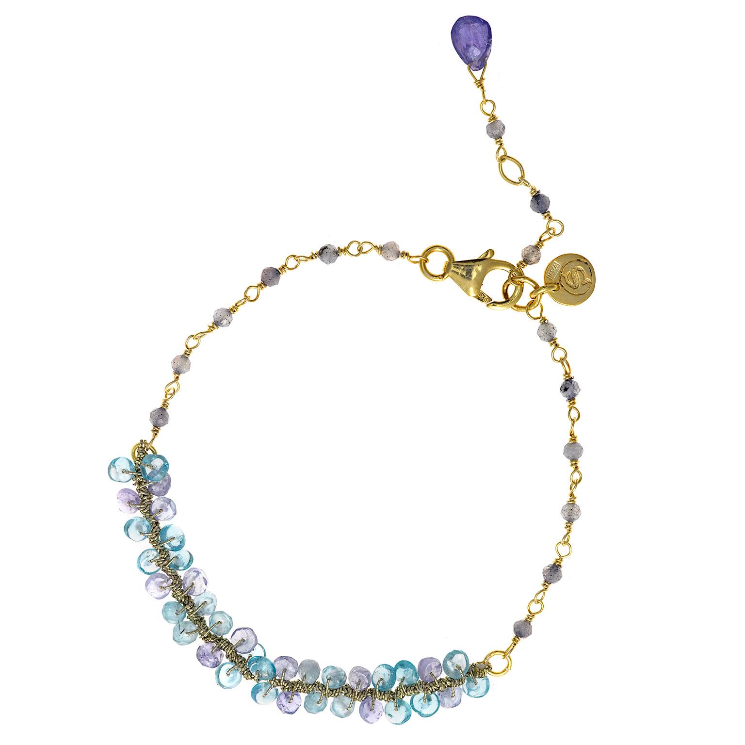 gran selección de mujer material seleccionado *Pulsera Plata chapada con Piedras naturales en Azul