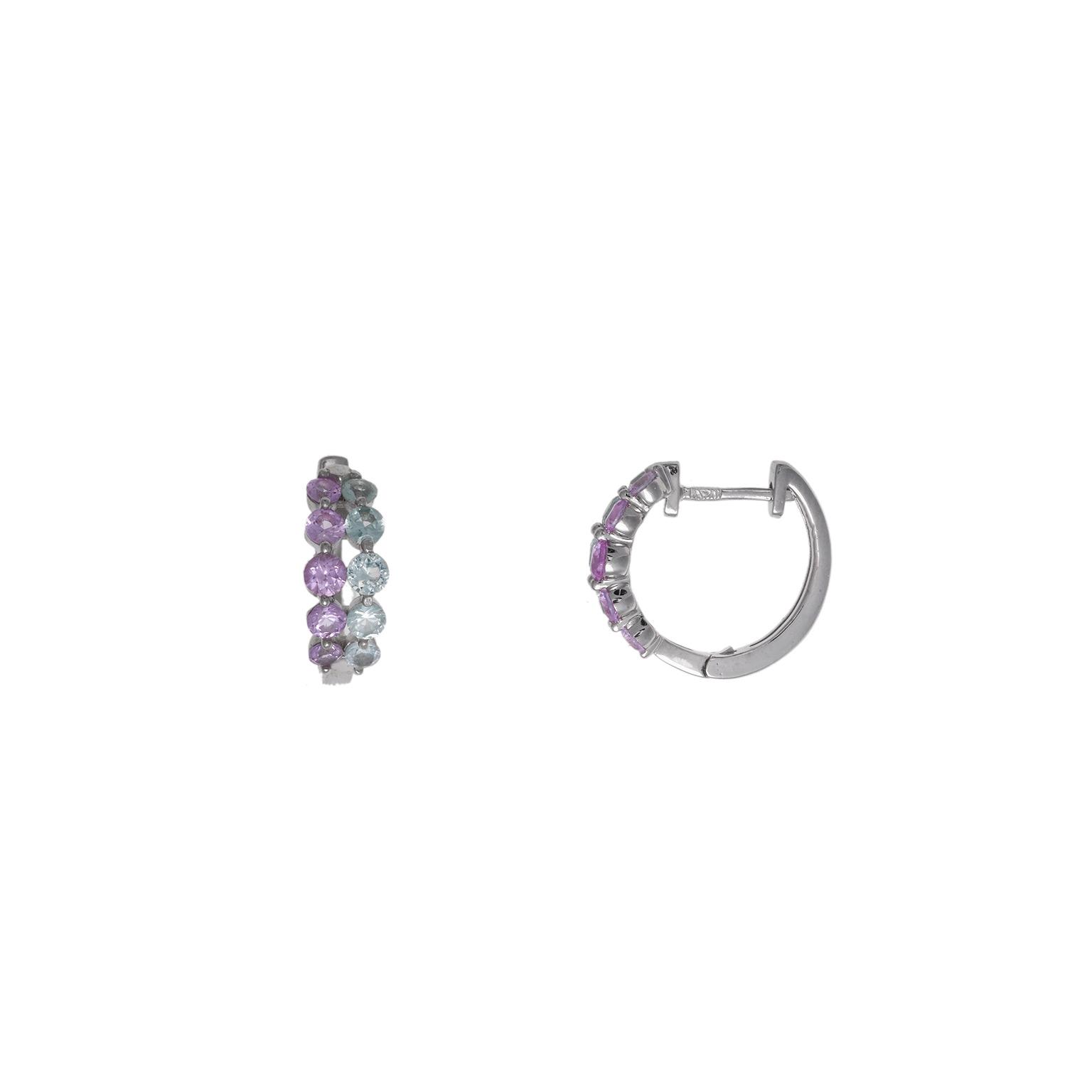 3471ef7372ca Aros de Plata pequeños con Piedras rosas y azules - Girbes Joyas